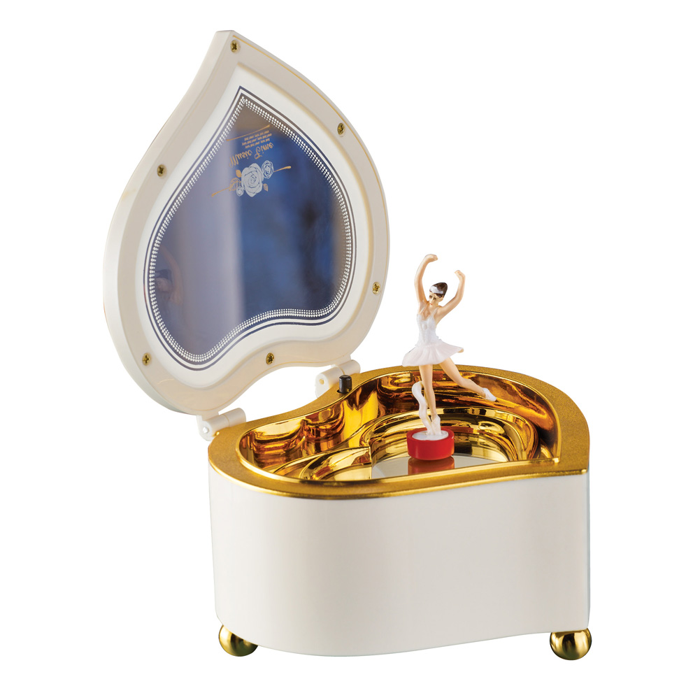 Ballerina Heart Music Box with Storage, Tabletop Accent with Gold Designs and Mirror Dish - Plays Fur Elise