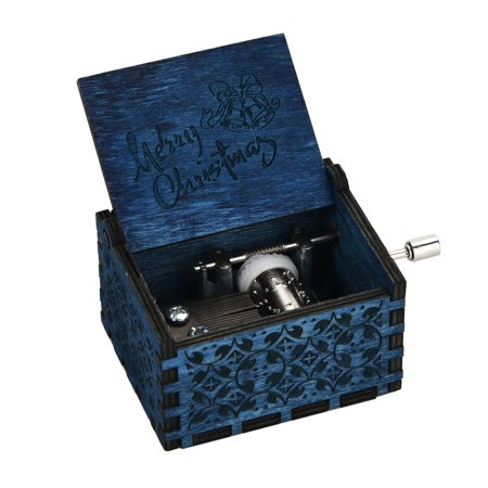 Mini Music Box Engraved Wooden Music Box Interesting Xmas Gifts Toys DB