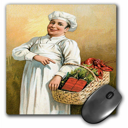 3dRose Vintage Chef Carrying a Basket of Lobsters and Bottles of Wine, Mouse Pad, 8 by 8 inches