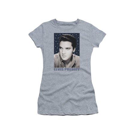 Elvis Presley - Blue Sparkle - Juniors Teen Girls Cap Sleeve Shirt - Small