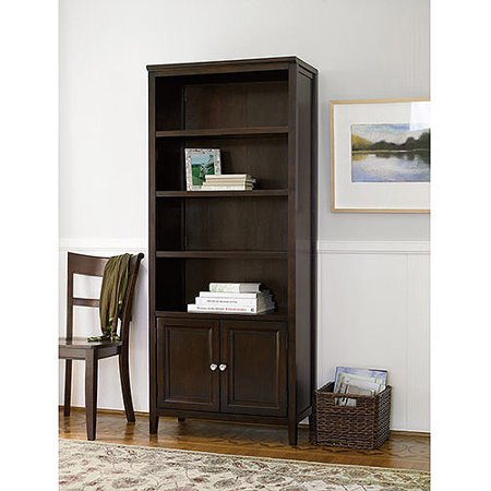 Canopy Tall 4-Shelf Bookcase with Doors, Multiple Finishes - Canopy Tall 4-Shelf Bookcase With Doors, Multiple Finishes