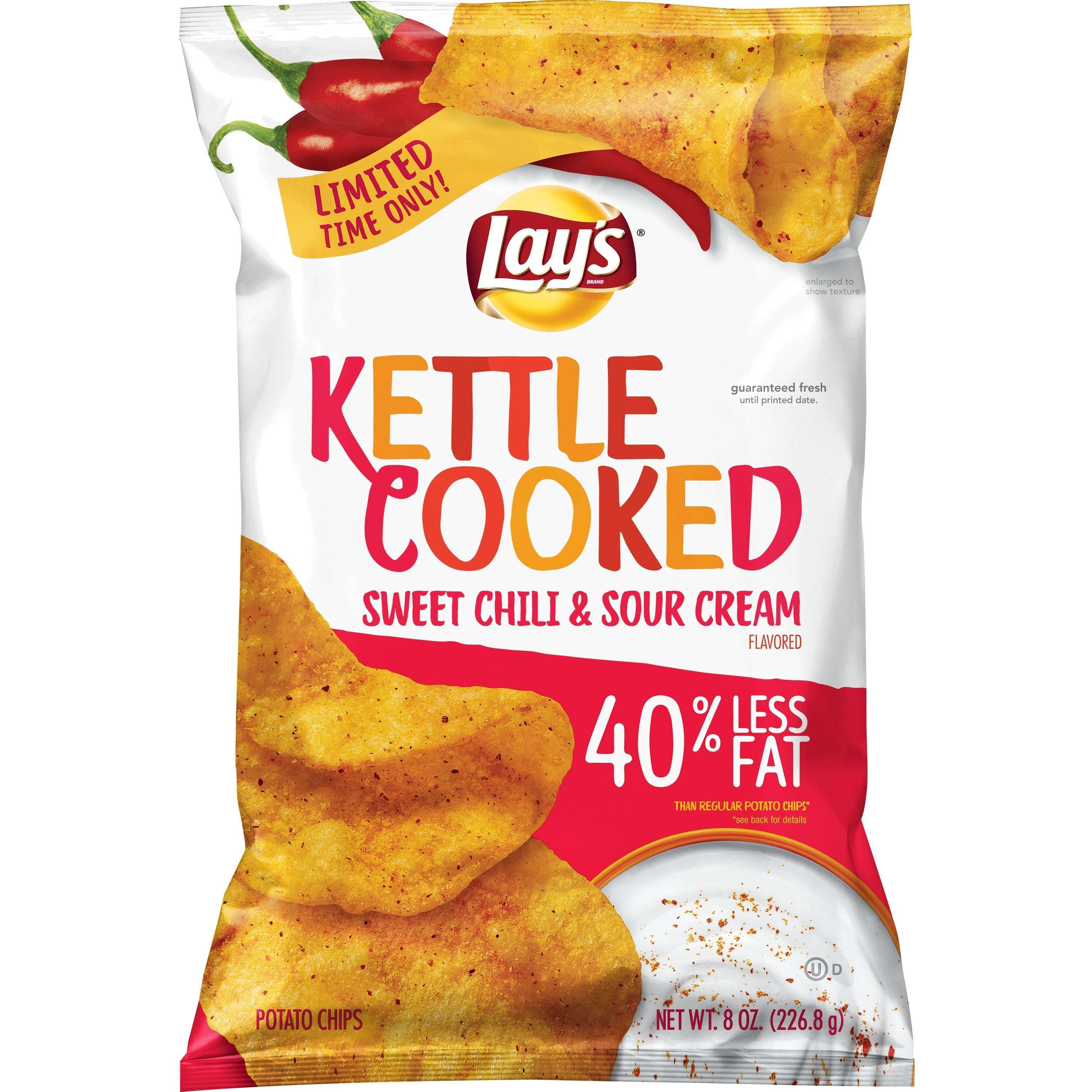 Lay's Kettle Cooked Potato Chips, Sweet Chili & Sour Cream, 8 oz Bag