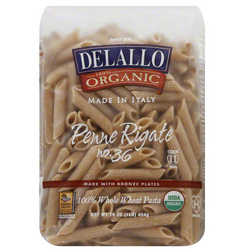 DeLallo Penne Rigate 100% Whole Wheat Pasta, 16 oz, (Pack of 16)