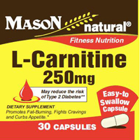 Mason Natural L-Carnitine 250 Mg, Fitness Nutrition Capsules - 30 Ea