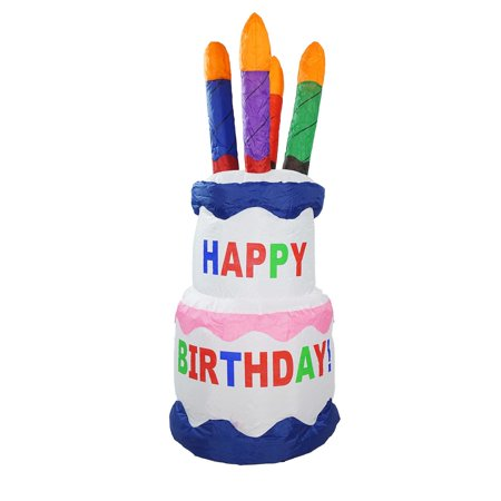 4 Inflatable Lighted Happy Birthday Cake Outdoor Decoration