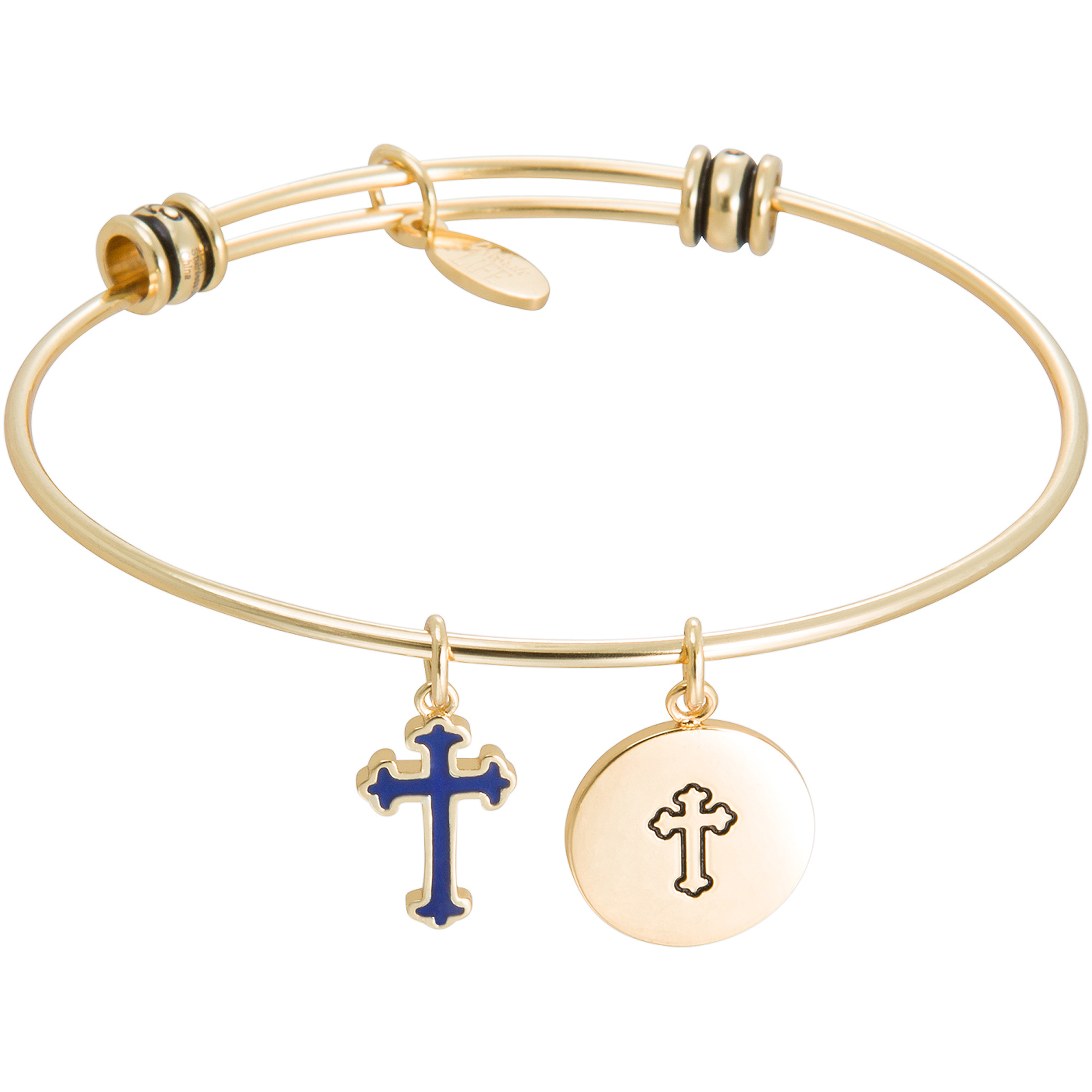 "Connections from Hallmark Stainless Steel Yellow-Tone ""Keep the Faith"" and Cross Multi-Charm Wire Bangle, 7.75"