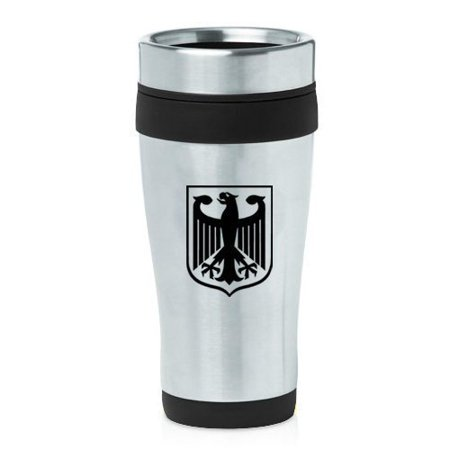 German Eagle Coat Of Arms - 16oz Insulated Stainless Steel Travel Mug Coat of Arms Germany Eagle (Black),MIP