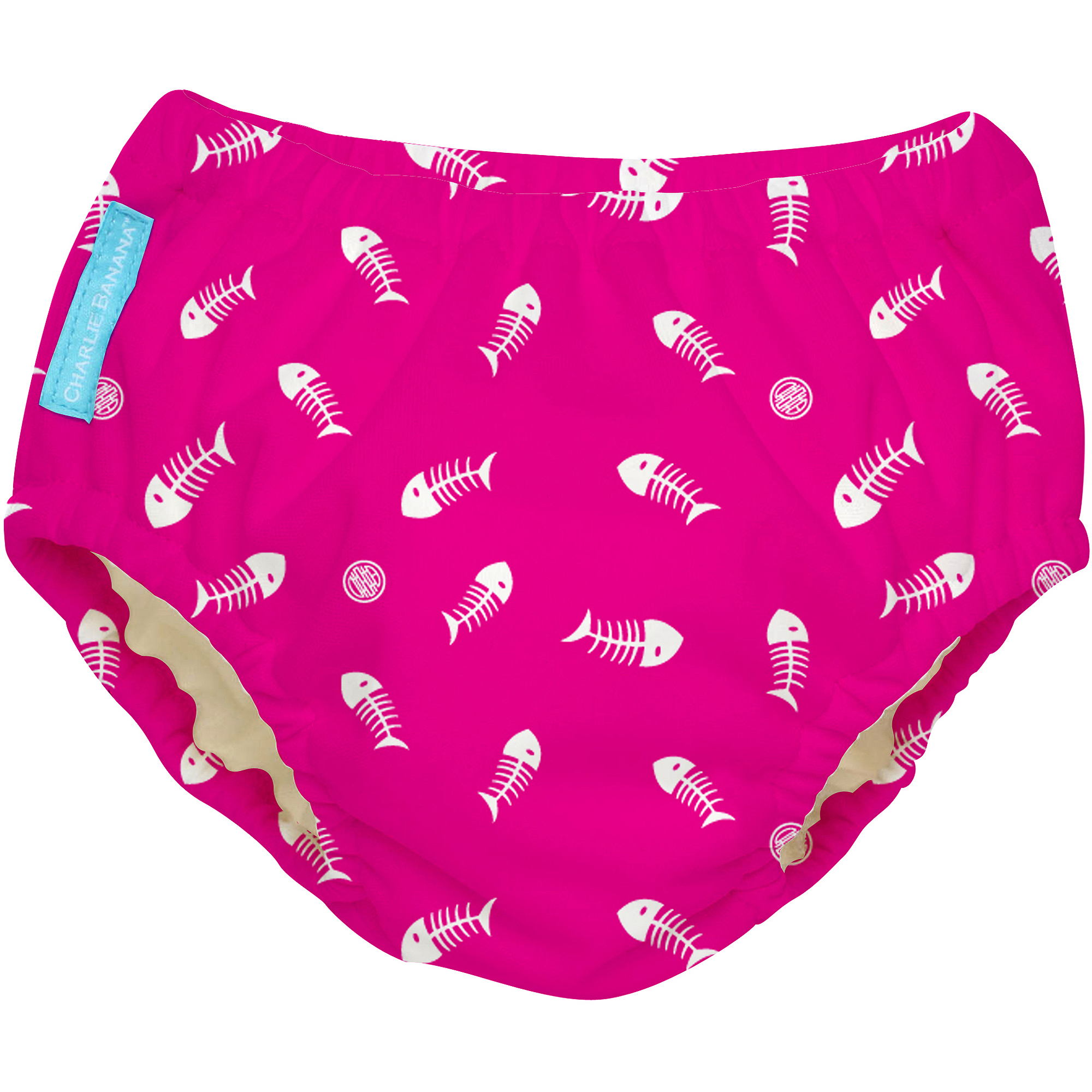 Charlie Banana Extraordinary Swim Diaper, Fish Sticks on Hot Pink