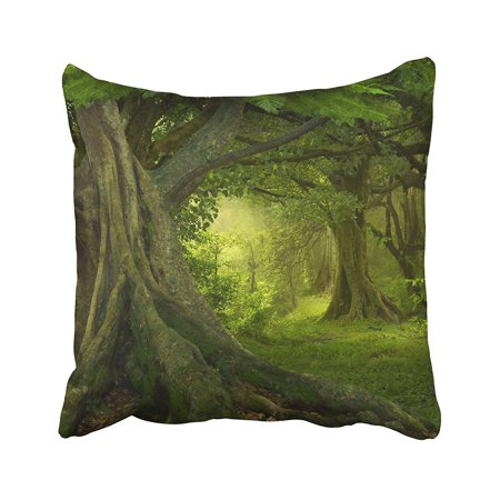 BPBOP Green Forest Tropical Jungle Tree Bamboo Fantasy Landscape Nature Paradise Amazon Pillowcase Pillow Cushion Cover 16x16 inches