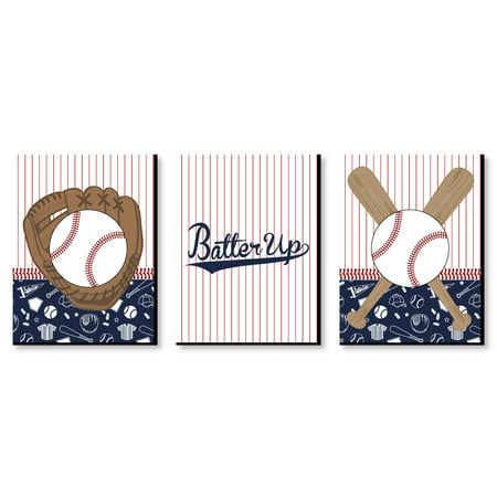 "Batter Up - Baseball - Sports Themed Wall Art & Kids Room Decor - 7.5"" x 10"" - Set of 3 Prints"