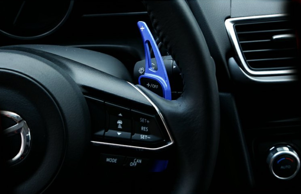Black Three T Steering Wheel Shift Paddle Shifter Extension Trim Cover Aluminium Alloy Fit for Mazda 3 6 CX-4 Atenza Axela 2014-2018