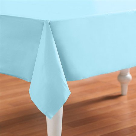 Baby Blue Powder Blue Plastic Table Cover - Rectangle - Blue Baby Blue