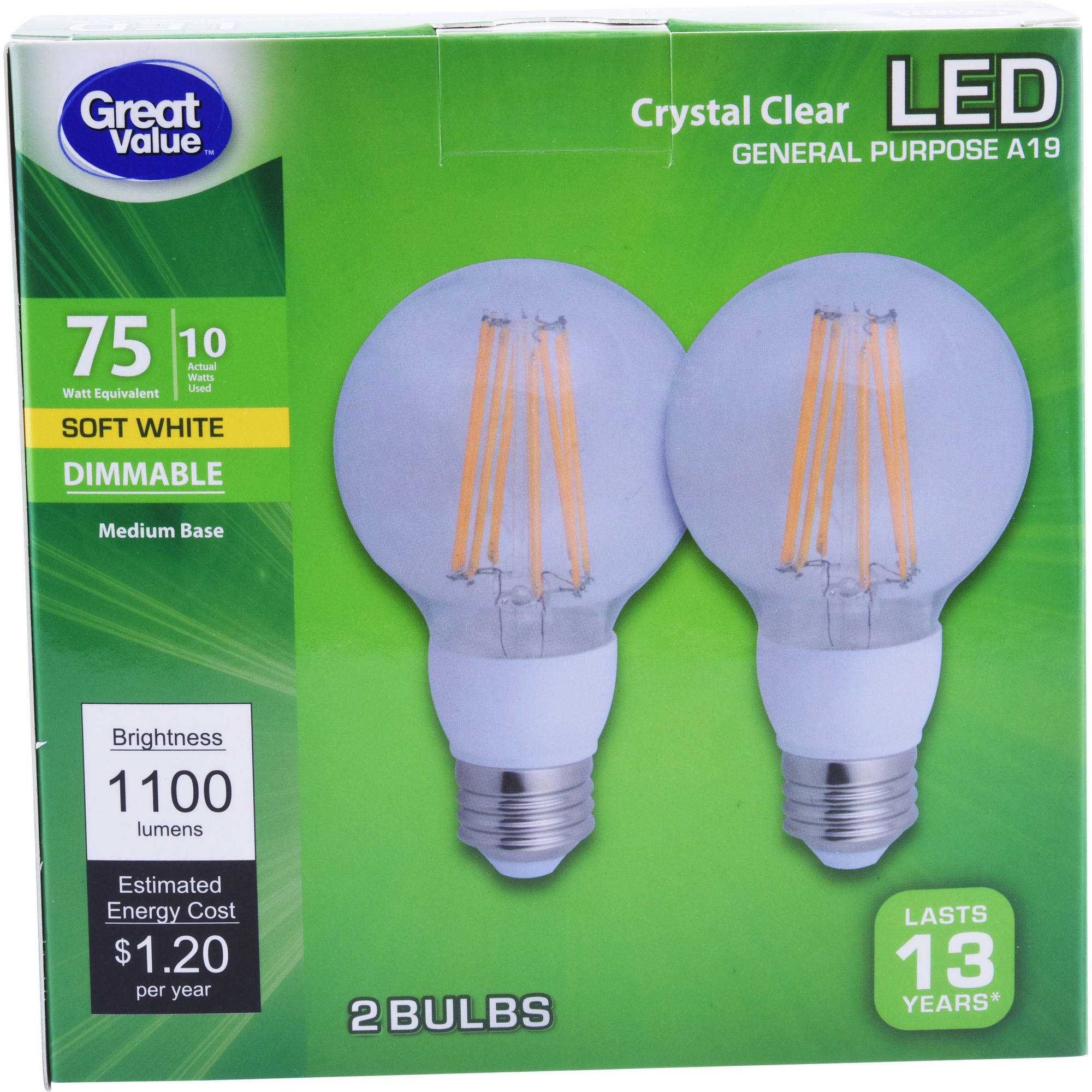 Great Value LED Filament Light Bulb, 75W, Soft White, 2-count