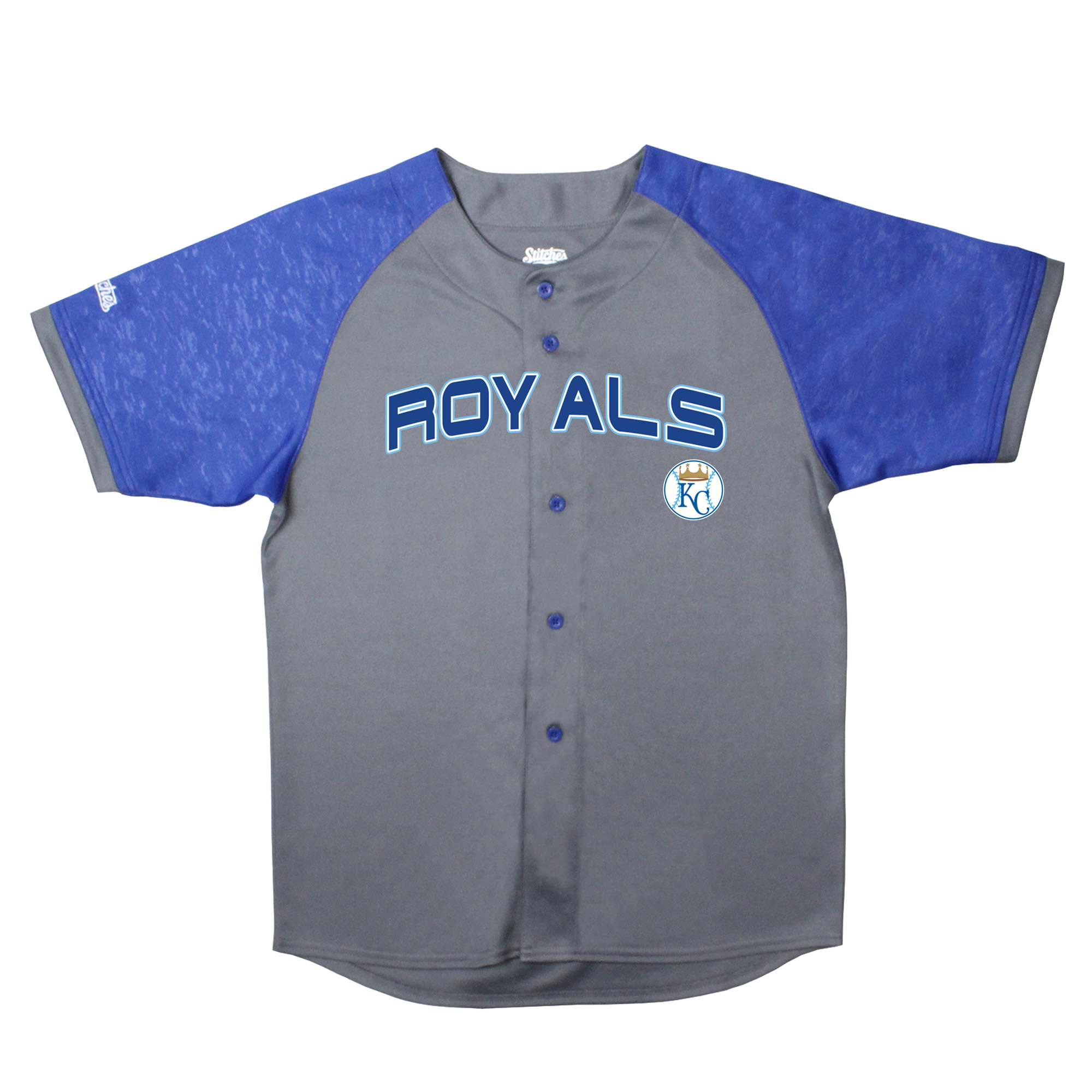 Kansas City Royals Stitches Youth Glitch Jersey - Charcoal/Royal