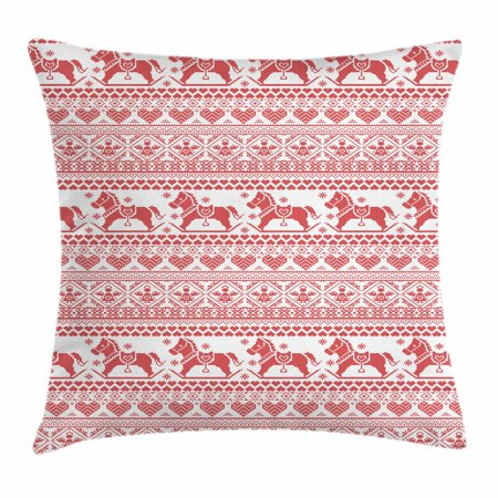 Nordic Throw Pillow Cushion Cover, Horses Hearts and Angels Norwegian Festive Motifs Cross Stitch Pattern Winter, Decorative Square Accent Pillow Case, 18 X 18 Inches, Vermilion White, by Ambesonne