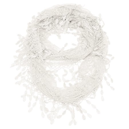 Falari Women Lace Infinity Loop Scarf With Fringes (Polyester Scarf)