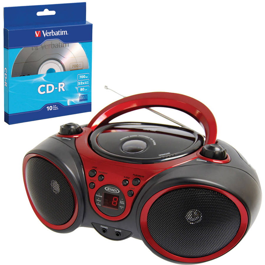 Jensen CD-490 Portable Stereo CD Player and Verbatim 97955 CD-R, 10 Pack