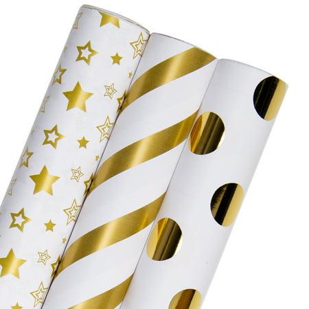 Gold Striped Paper (LaRibbons Elegant Stripes/Stars/Dots Wrapping Paper White/Gold 30