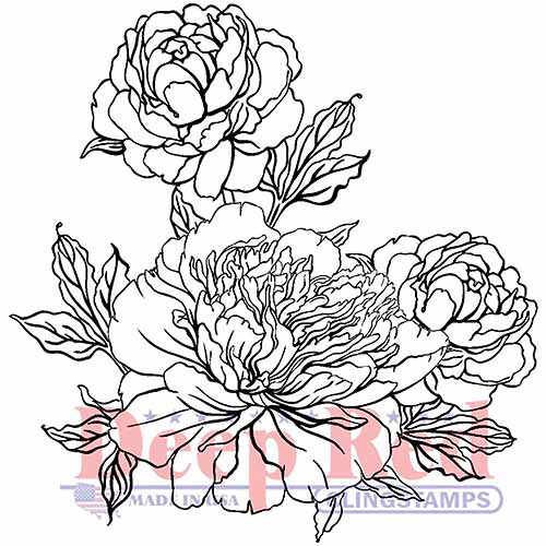 "Deep Red Cling Stamp 2""X2""-Carnation Blooms"