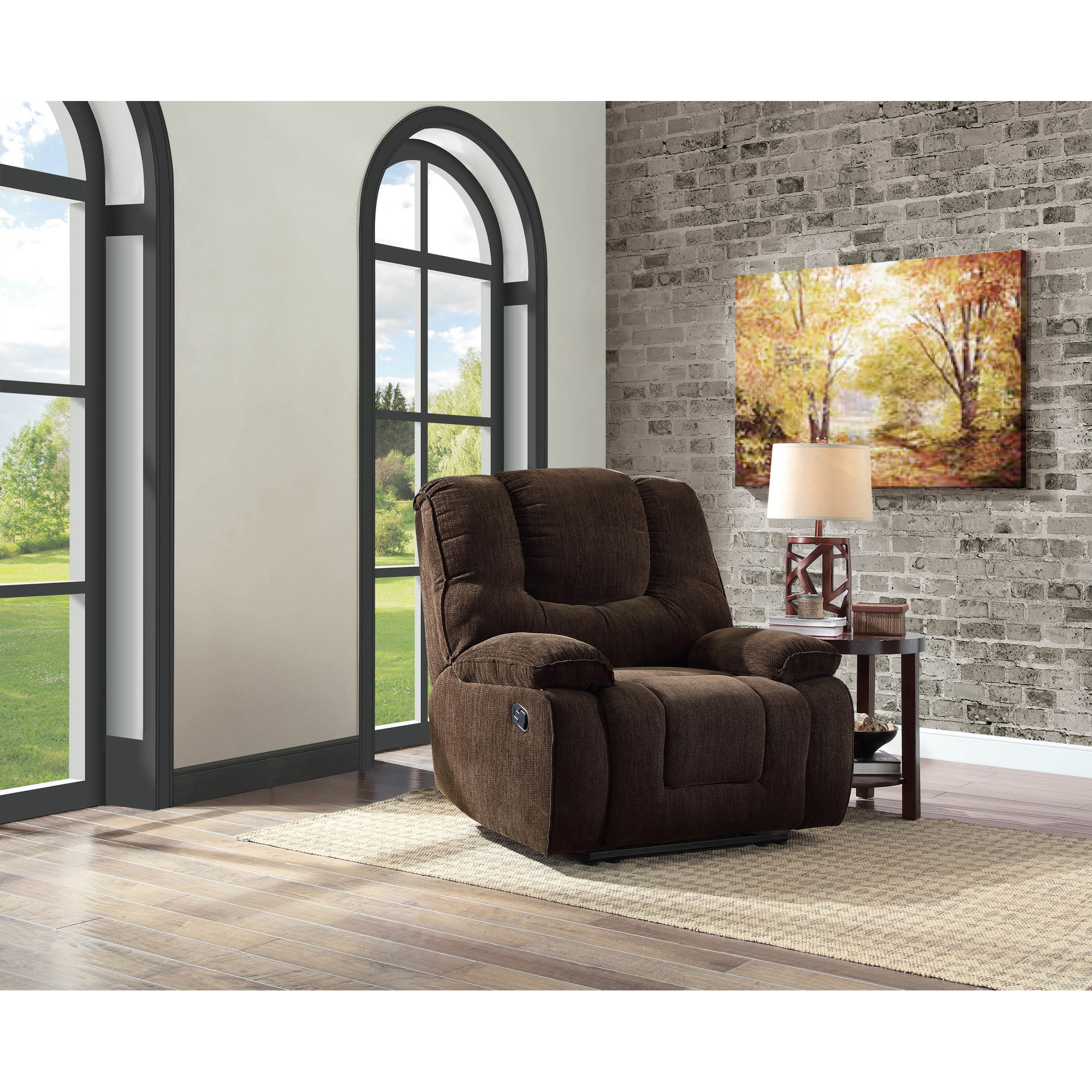 better homes and gardens big u0026 tall recliner with inarm storage and usb