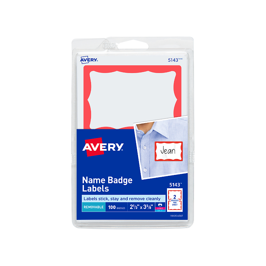 "Avery Name Badge Labels, Red Border, 2-11/32"" x 3-3/8"", 100 Count"