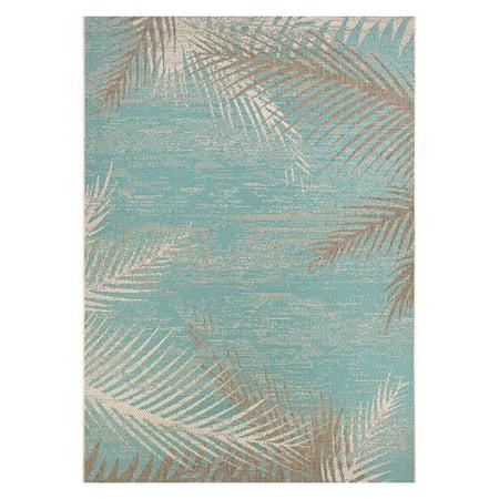 Couristan Monaco Tropical Palms/Aqua Rug, Multiple (Nautical Tropical Rug)