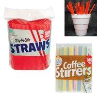 "500 Set Coffee Stirrers Straws 5"" Plastic Drink Stir Sticks Cocktail Bar Sip Mix"
