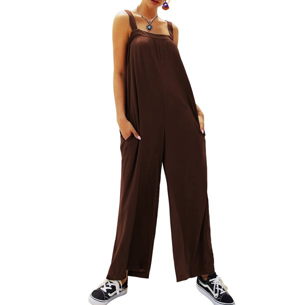 Mjci Casual Jumpsuits Women Sleeveless Plain Jumpsuit Loose Trousers Wide Leg Pants Rompers Holiday Solid Strappy Overalls Walmart Com Walmart Com