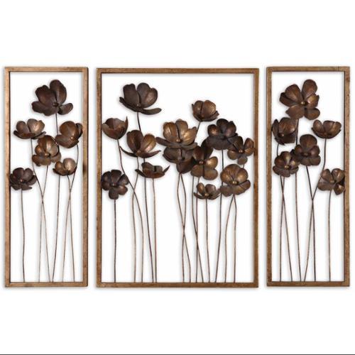 "Set of 3 Decorative Antique Gold Leaf Poppy Flower Metal Wall Art 40"""
