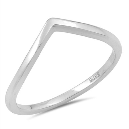 Sterling Silver Women's Thumb Stackable Chevron Ring (Sizes 4-10) (Ring Size