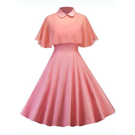Vintage Women Summer 50s 60s Hepburn Style Retro Pinup Cocktail Evening Party Rockabilly Swing Housewife Dress 50s Style Swing Dress