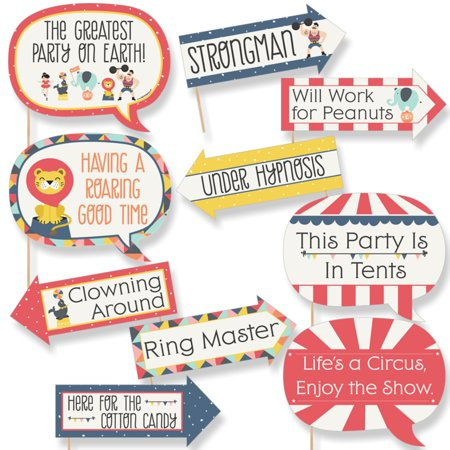 Funny Carnival - Cirque du Soiree - Baby Shower or Birthday Party Photo Booth Props Kit - 10 Piece - Carnival Themed Birthday