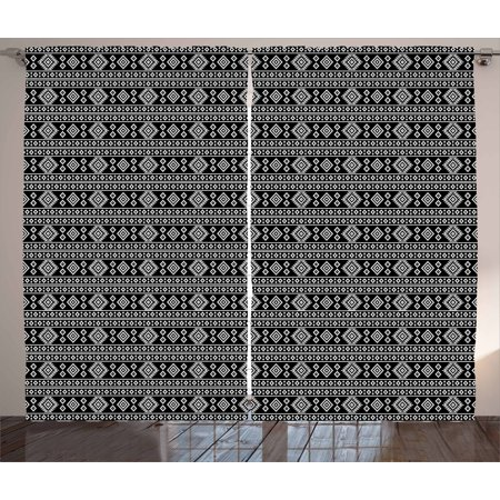 Afghan Curtains 2 Panels Set, Monochrome Middle Eastern Folklore Motifs Timeless Pattern Oriental Illustration, Window Drapes for Living Room Bedroom, 108W X 90L Inches, Black White, by Ambesonne