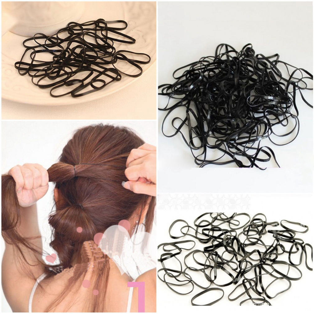 Cheap Pack 300Pcs Lady Girl Black Wrapped Stretchy Rubber Hair Ties Bands Ponytail Braid Holder