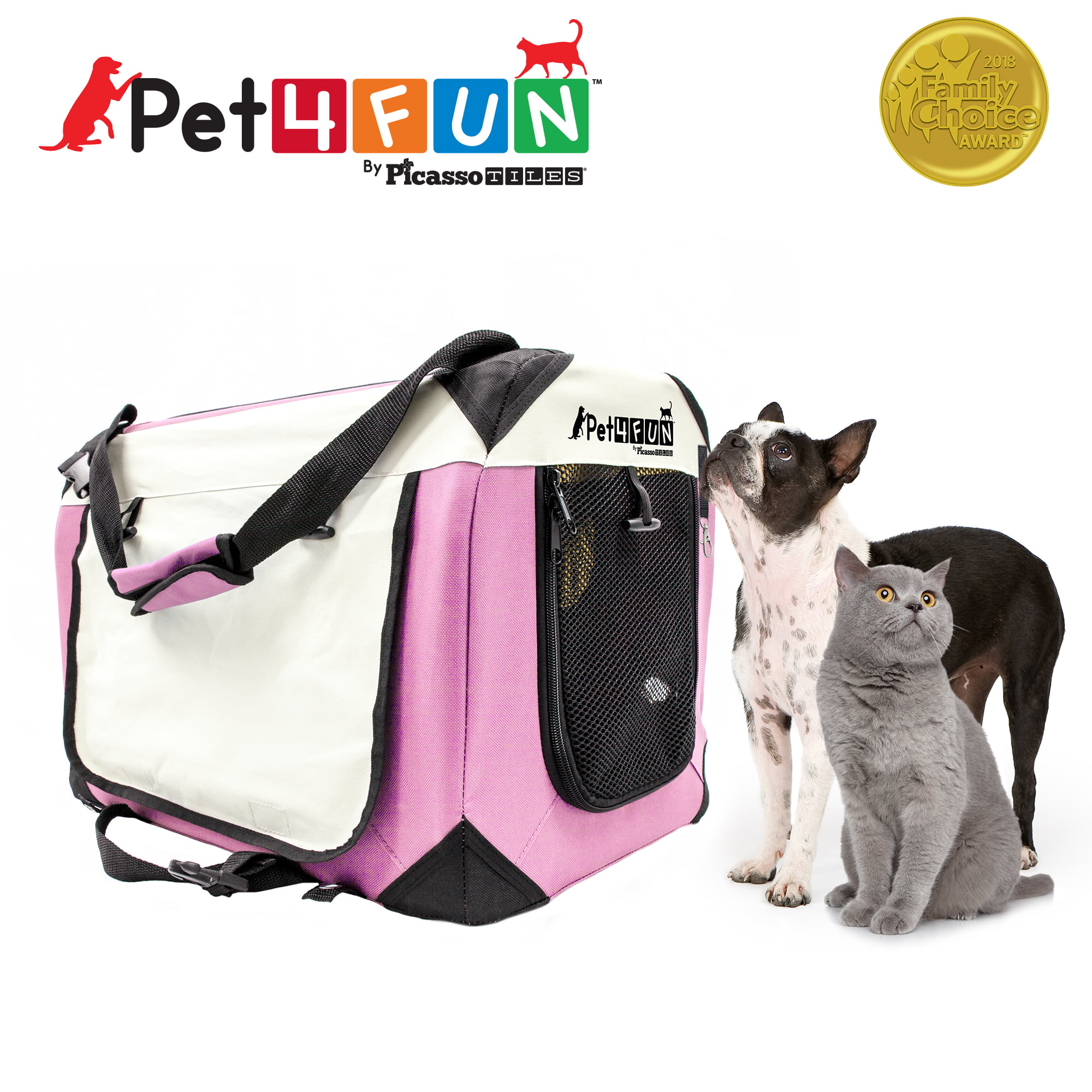 Pet4Fun PN951 Foldable Travel Crate Pet Carrier for Cat or Dog (Medium) PINK by PicassoTiles