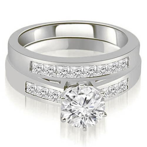 1.05 CT.TW Channel Set Princess Cut Diamond Bridal Set in 14K White, Yellow Or Rose Gold