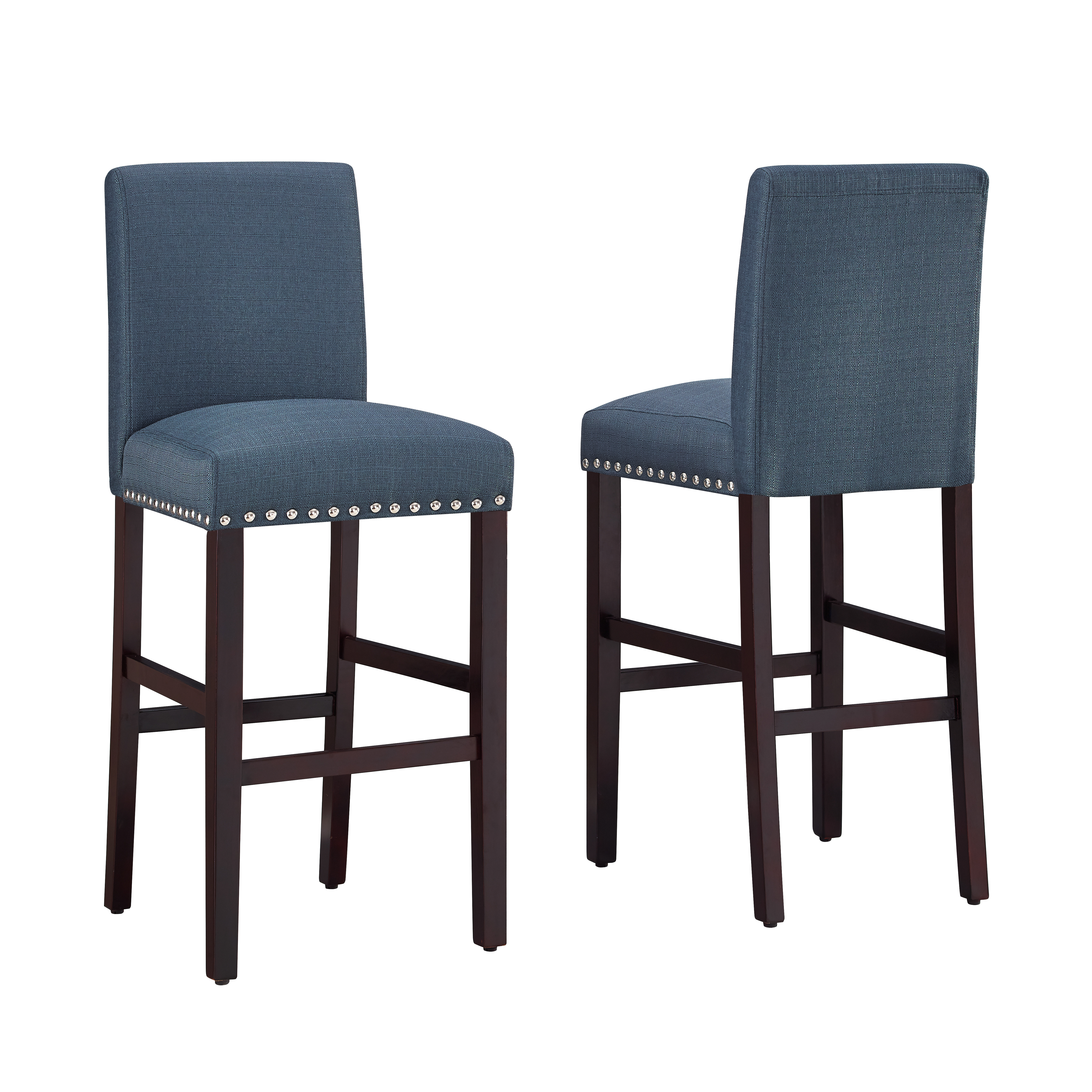 DHI Nice Nail Head Upholstered Bar Stool (2PK), Multiple Colors