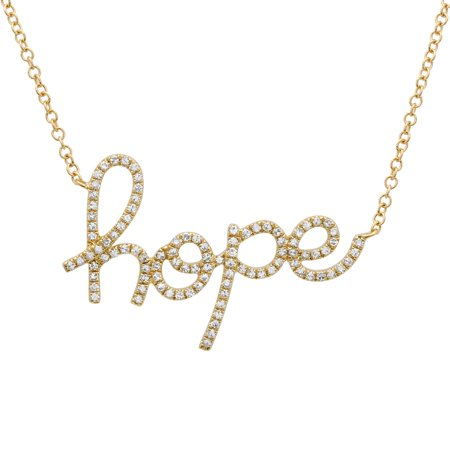 Hope Diamond Necklace - 14k Yellow Gold Necklace 0.23 Ct Natural Diamond Cursive Word Hope Necklaces For Women