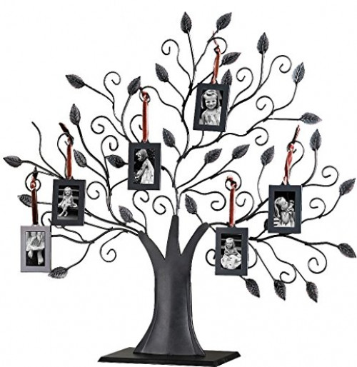 Bronze Metal Family Tree with 6 Hanging Picture Photo Frames