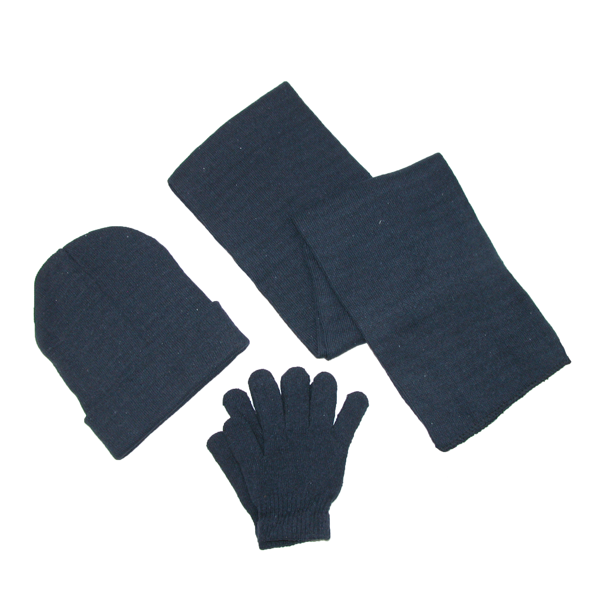 CTM®  Men's Knit Solid Hat Gloves and Scarf Winter Set
