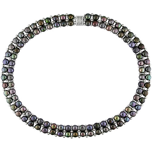 """6-7mm Black Button Cultured Freshwater Pearl Double Row Necklace, 17"""""""