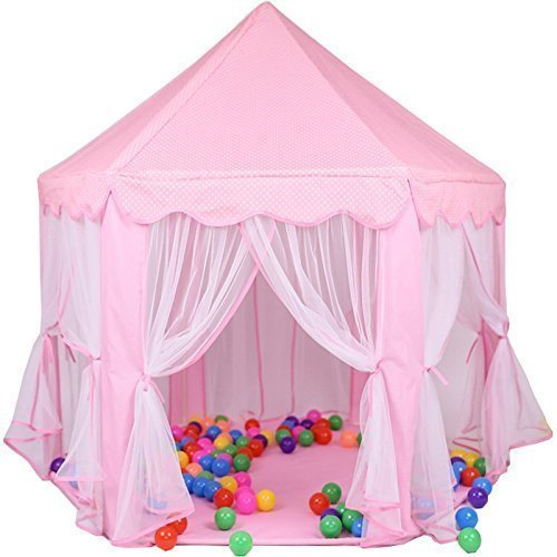 Girls Pink Princess Castle Play Tents, Children Indoor Outdoor Large Tent Playhouse, Perfect Gift for Girls