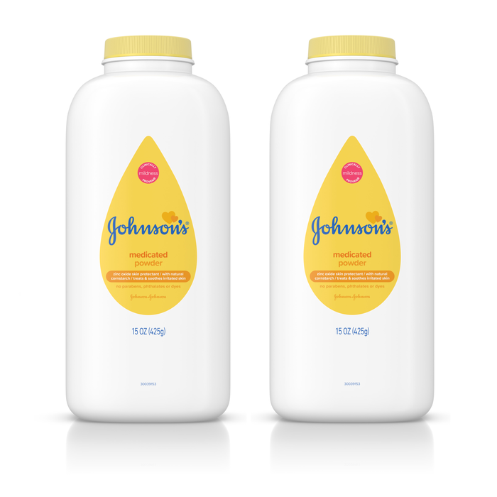(2 pack) Johnsons Diaper Rash Baby Powder, Zinc Oxide and Cornstarch, 15 oz