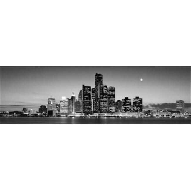Buildings at the waterfront  River Detroit  Detroit  Michigan  USA Poster Print by  - 36 x 12 - image 1 de 1