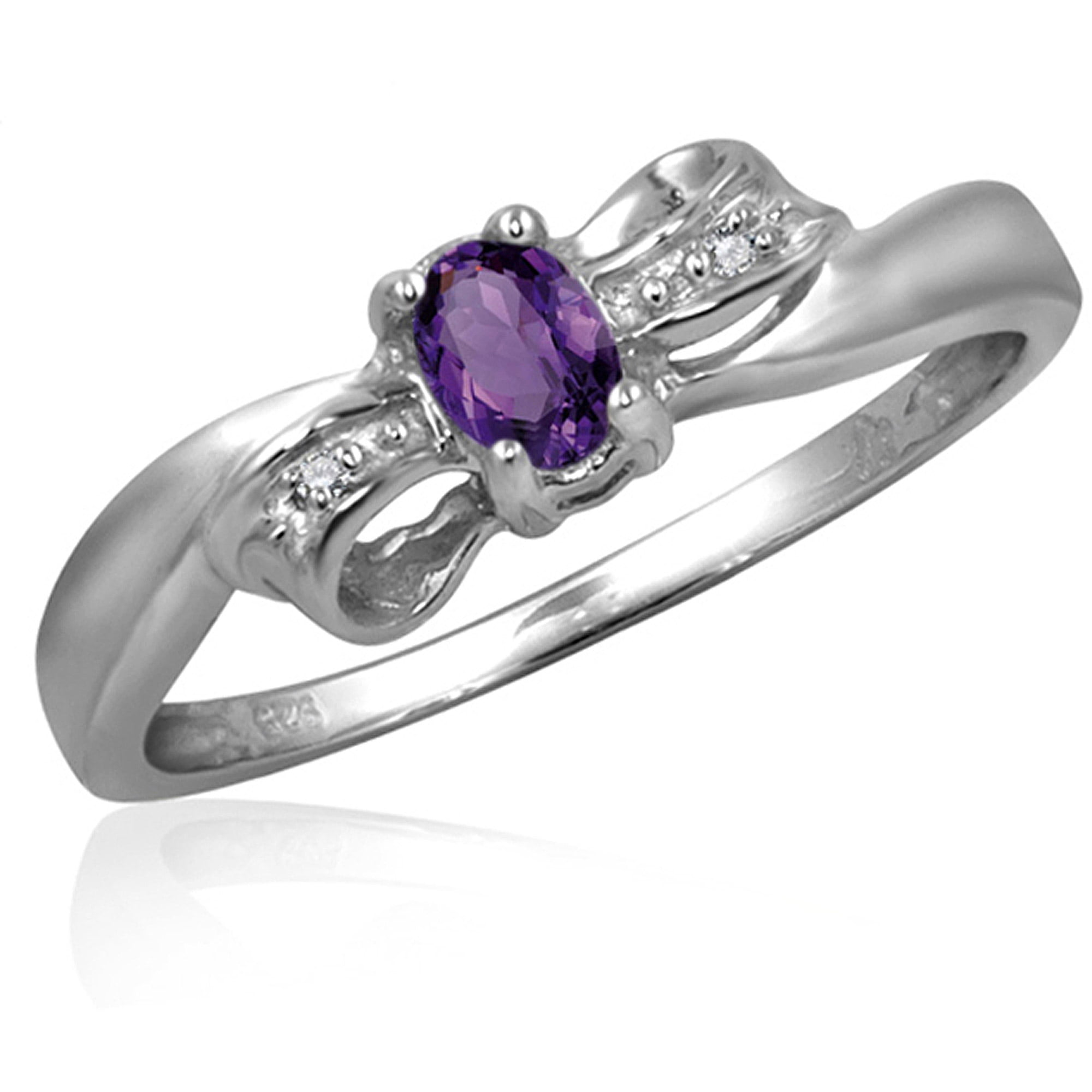 JewelersClub 0.15 Carat T.G.W. Amethyst Gemstone and White Diamond Accent Ring by JewelersClub