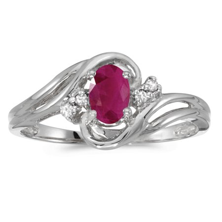 14k White Gold Oval Ruby And Diamond Ring ()