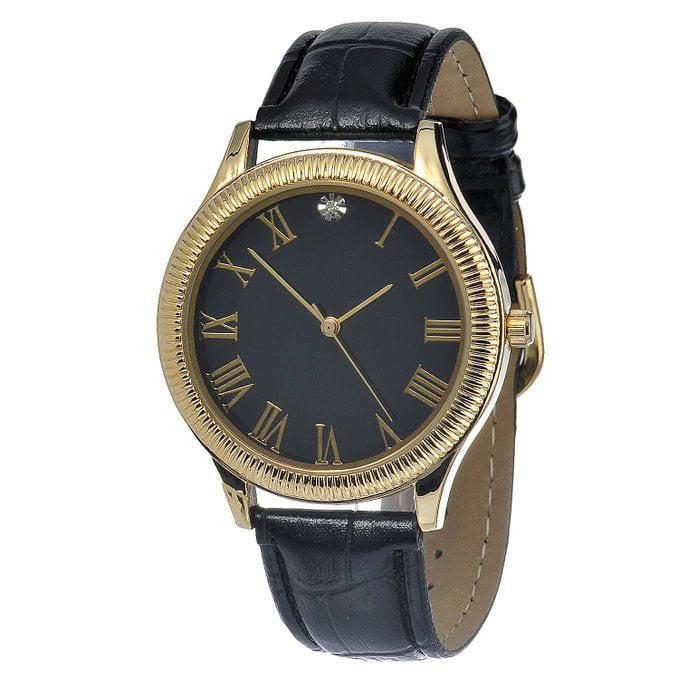 fmd black and gold metallic alloy leather quartz