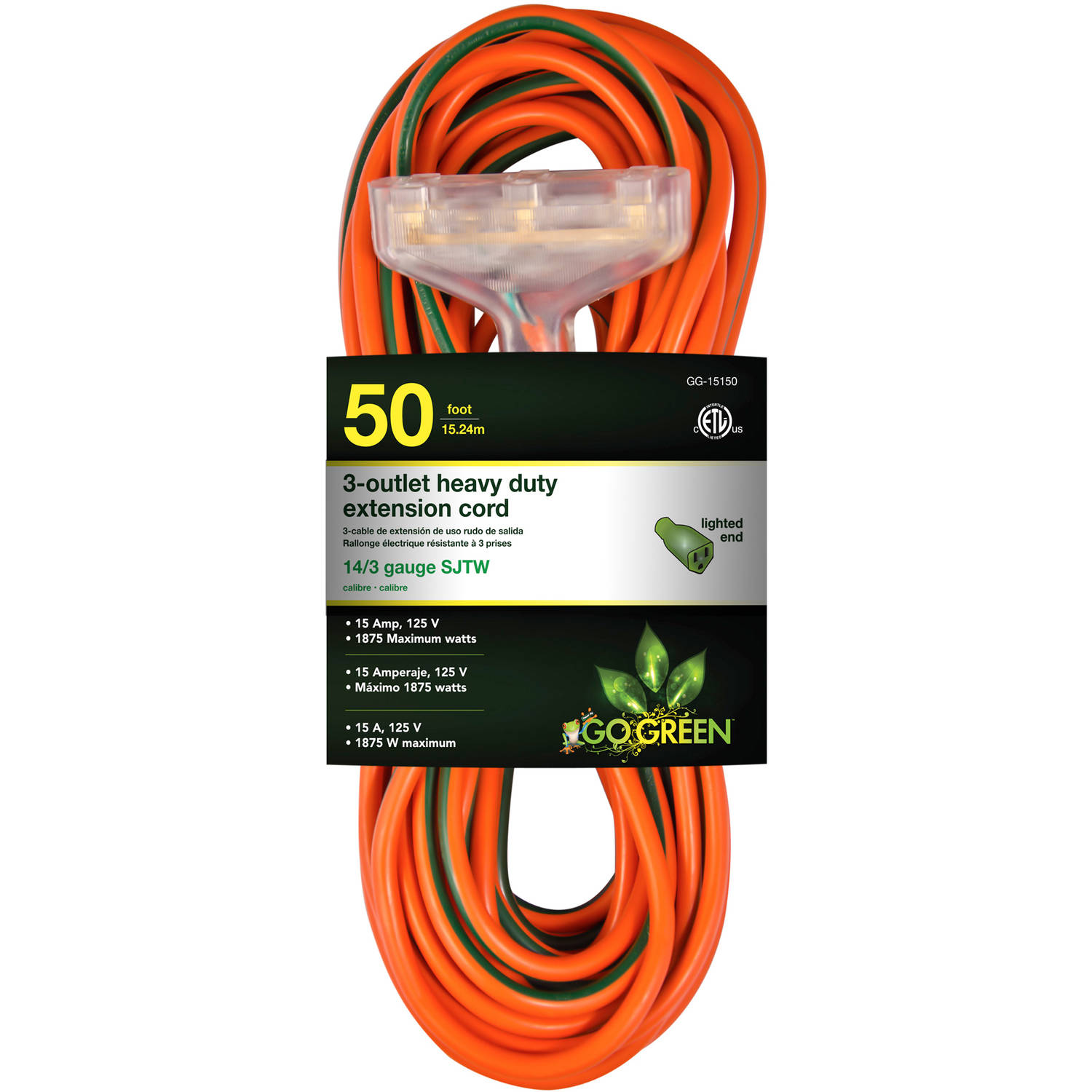 GoGreen Power 14/3 50' 15150 3-Outlet Heavy Duty Extension Cord, Lighted End