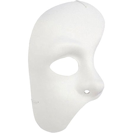 White Half Mask - Phantom of the Opera Halloween Party Masquerade - Half Scary Half Normal Halloween Makeup