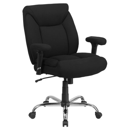 Flash Furniture HERCULES Series 400 lb Capacity Big and Tall Black Fabric Swivel Task Office Chair with Height Adjustable Arms